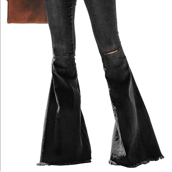 RP- Black Distressed Super Flare Jeans